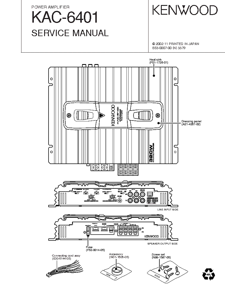 KENWOOD KAC-6401 Service Manual download, schematics