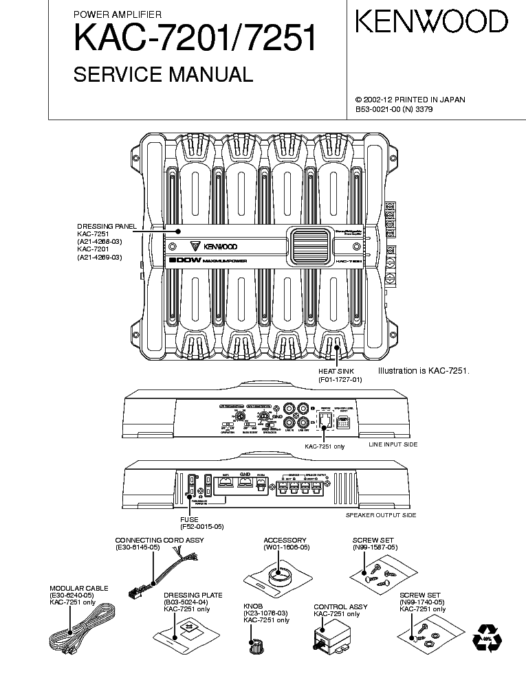 KENWOOD KAC-629S SM Service Manual download, schematics