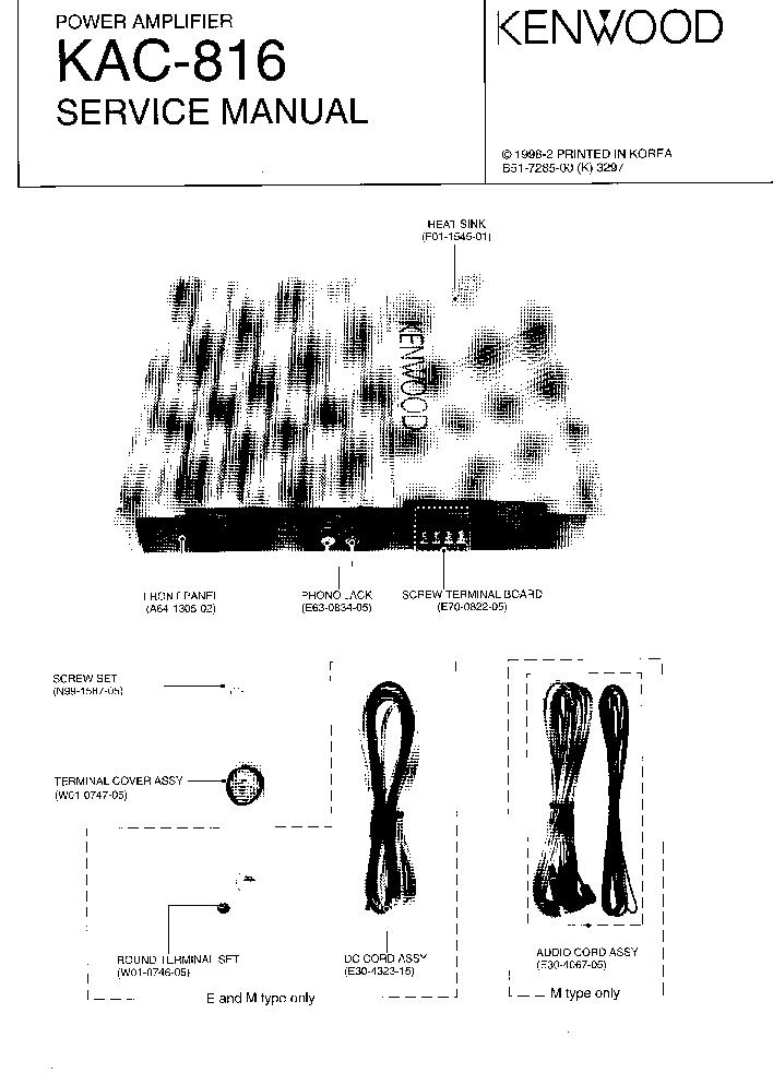 KENWOOD KAC-816 SM Service Manual download, schematics