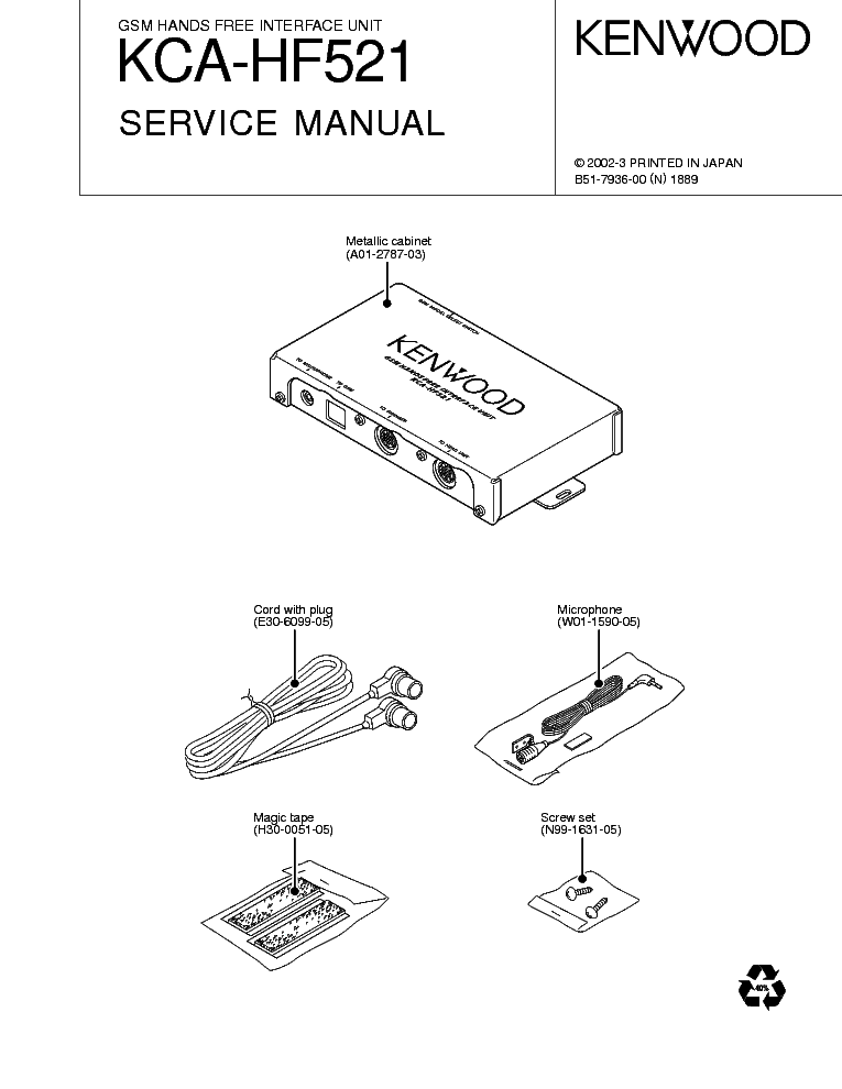 KENWOOD KCA-HF521 Service Manual download, schematics