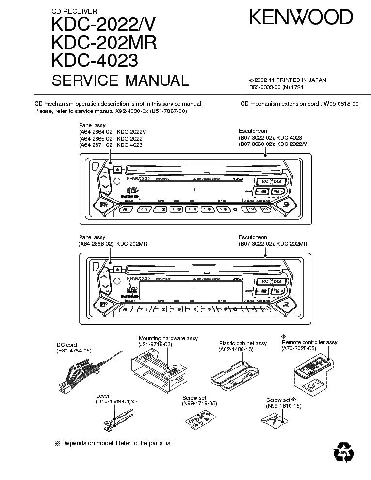 KENWOOD KDC-2022 2022V 202MR 4023 SM Service Manual
