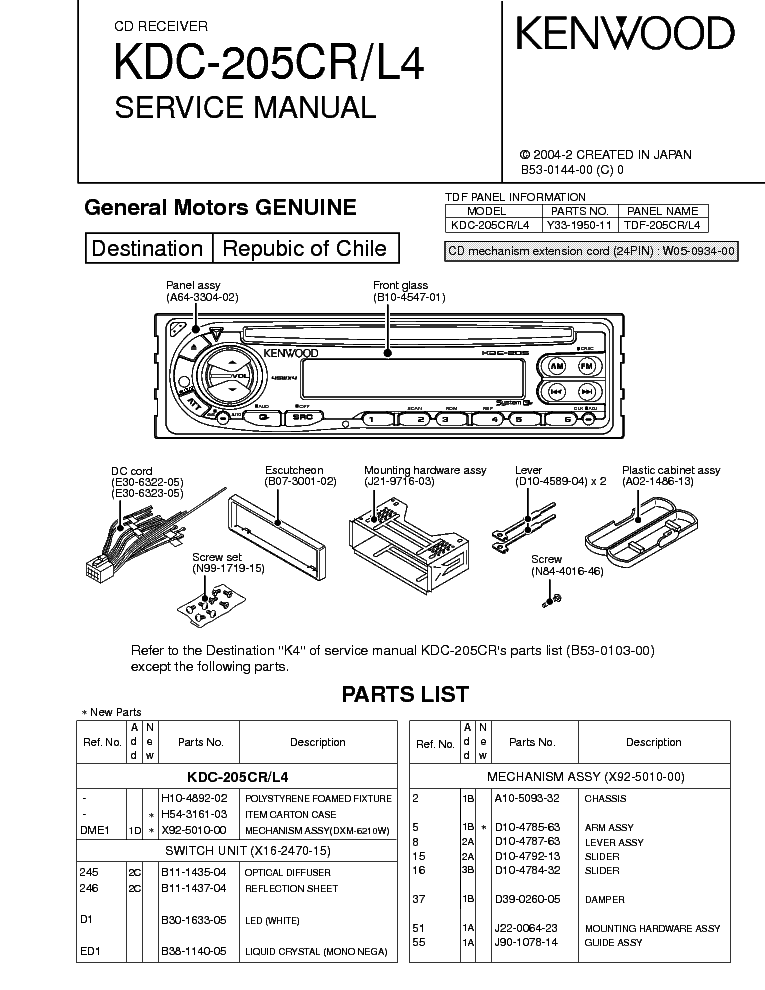 Wiring Diagram For Kenwood Kdc 252u : Kenwood kdc u wiring diagram