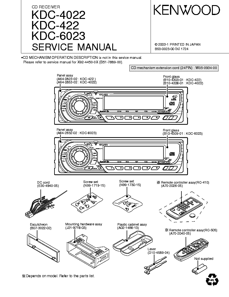 KENWOOD KDC-4022 KDC-422 KDC-6023 CAR AUDIO Service Manual