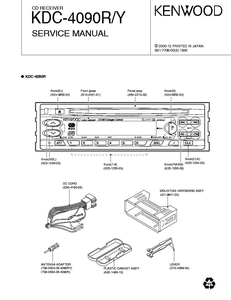 KENWOOD KDC-4090R Y Service Manual download, schematics
