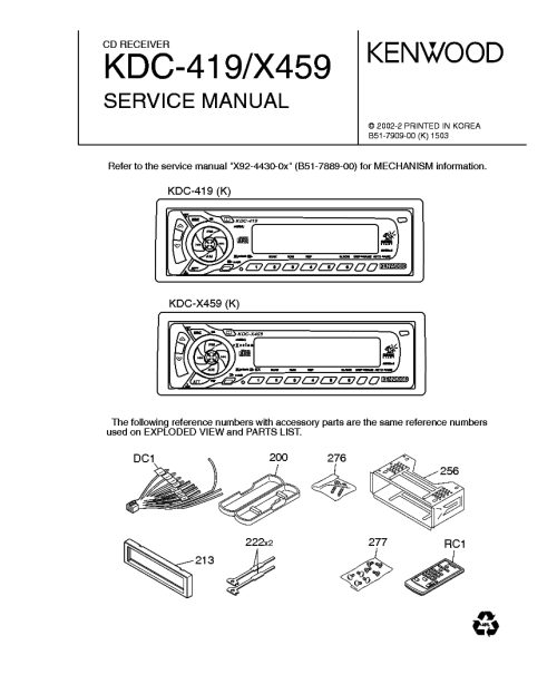 small resolution of kenwood kdc 419 x459 service manual 1st page