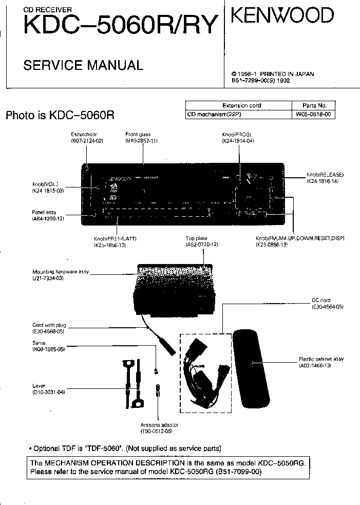 KENWOOD KDC-5060R RY Service Manual download, schematics