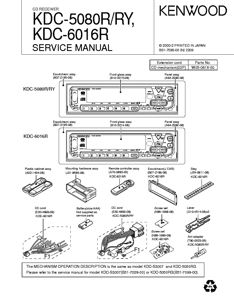 KENWOOD KRC-31Y 36 366 37 391 394 466 4904 Service Manual