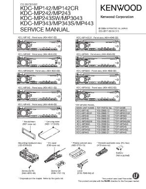 KENWOOD KDCMP142 242 243 3043 343 443 SM Service Manual