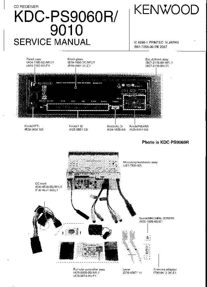 KENWOOD KDC-PS9060R 9010 Service Manual download