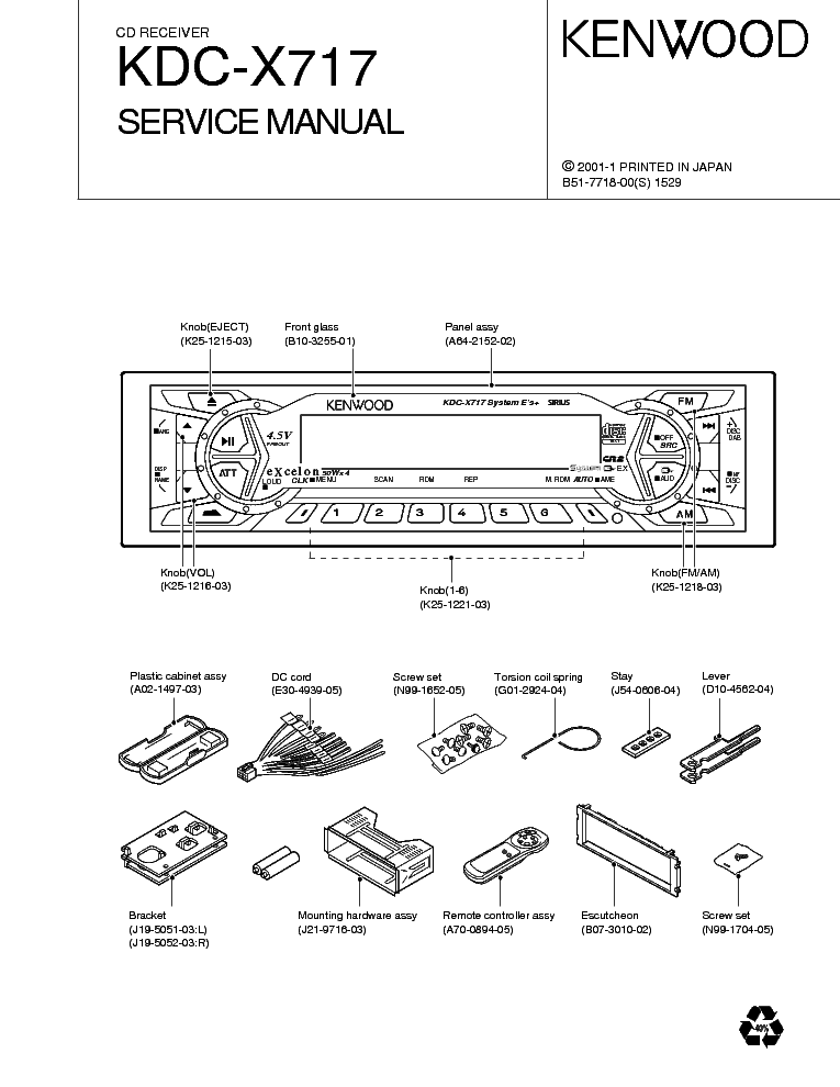 KENWOOD KRC 2902 SM Service Manual download, schematics