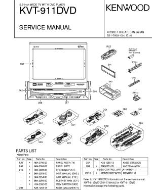 KENWOOD KVT911DVD Service Manual download, schematics