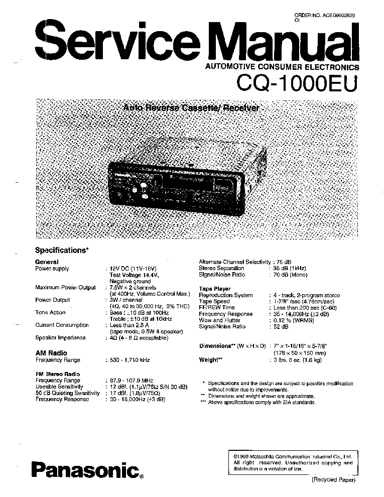 PANASONIC CQ-1000EU SM Service Manual download, schematics