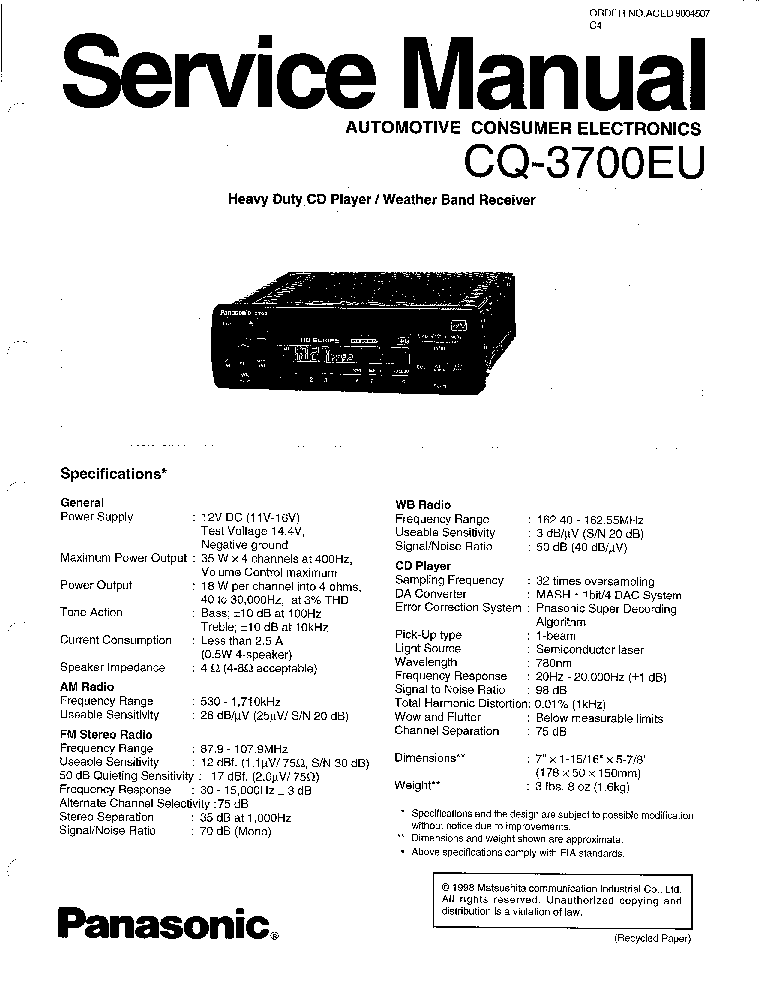 PANASONIC CQ-3700EU Service Manual download, schematics
