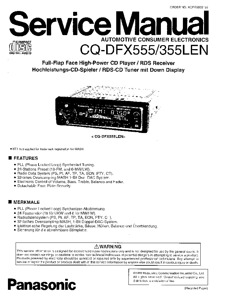 PANASONIC CQ-DFX555 CQ-DFX355LEN Service Manual download