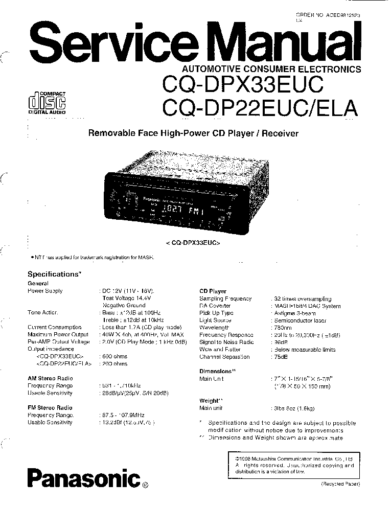 PANASONIC CQ-DP22 SCH Service Manual download, schematics