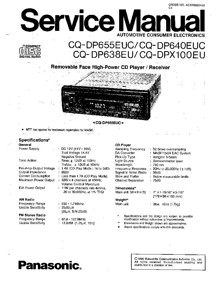 PANASONIC CQ-DP655EUC CQ-DP640EUC CQ-DP638EU CQ-DPX100EU