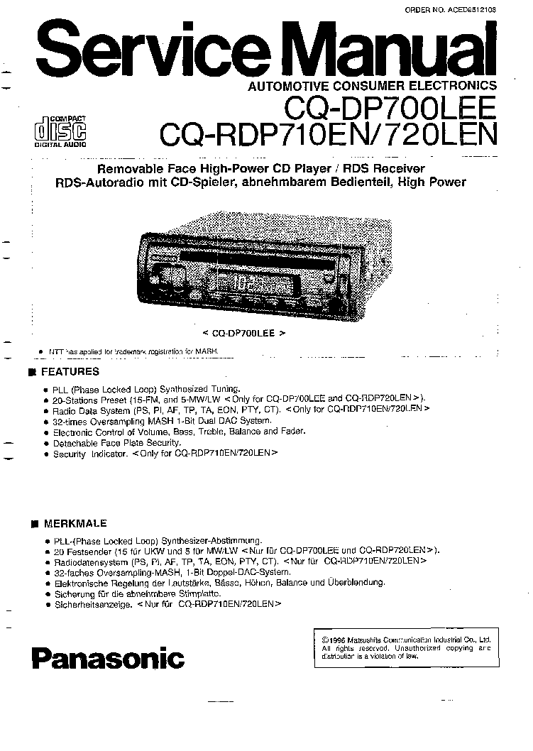 PANASONIC CQ-DP700LEN RDP710EN RDP720LEN SM Service Manual