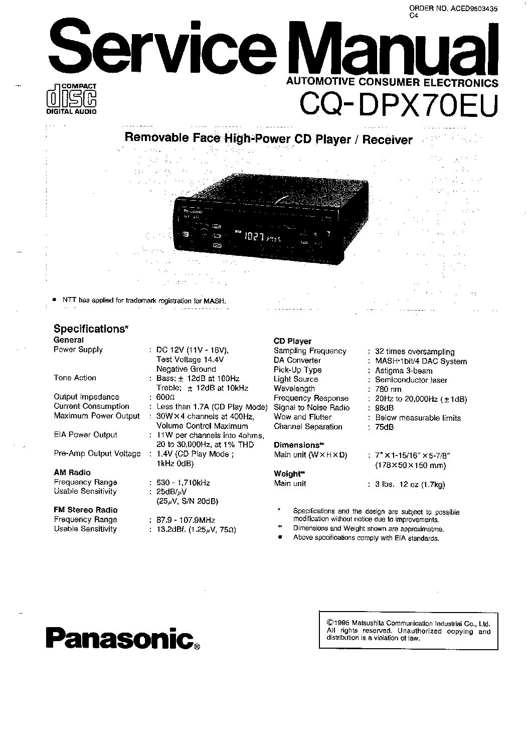 PANASONIC CQ-DPX70EU Service Manual download, schematics