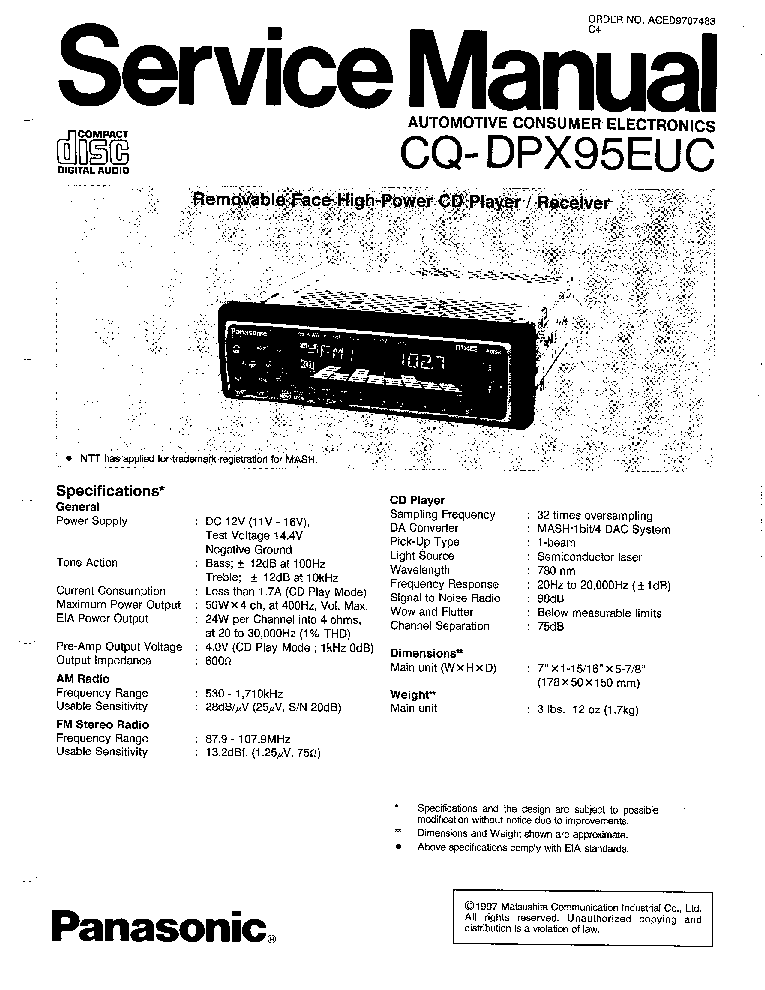 PANASONIC CQ-DPX95EUC Service Manual download, schematics
