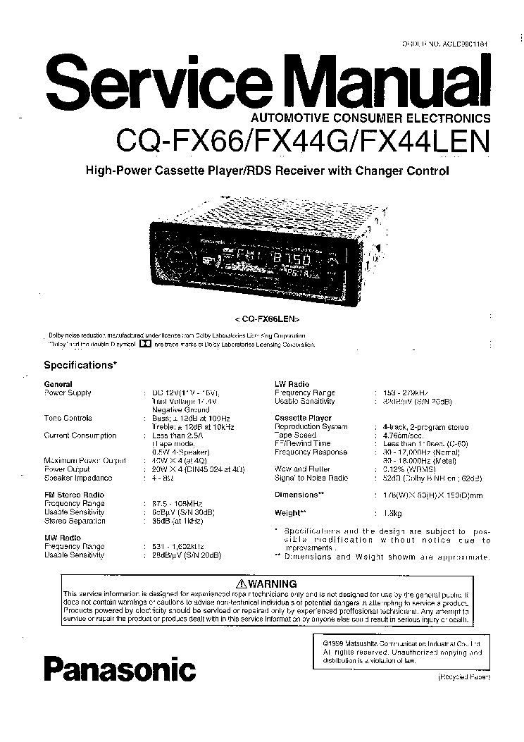 PANASONIC CQ-FX44G FX44LEN FX66 SM Service Manual download