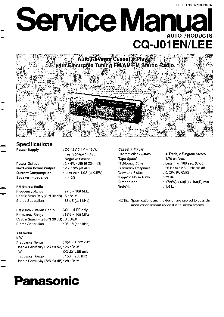 PANASONIC CQ-J01EN J01LEE SM Service Manual download