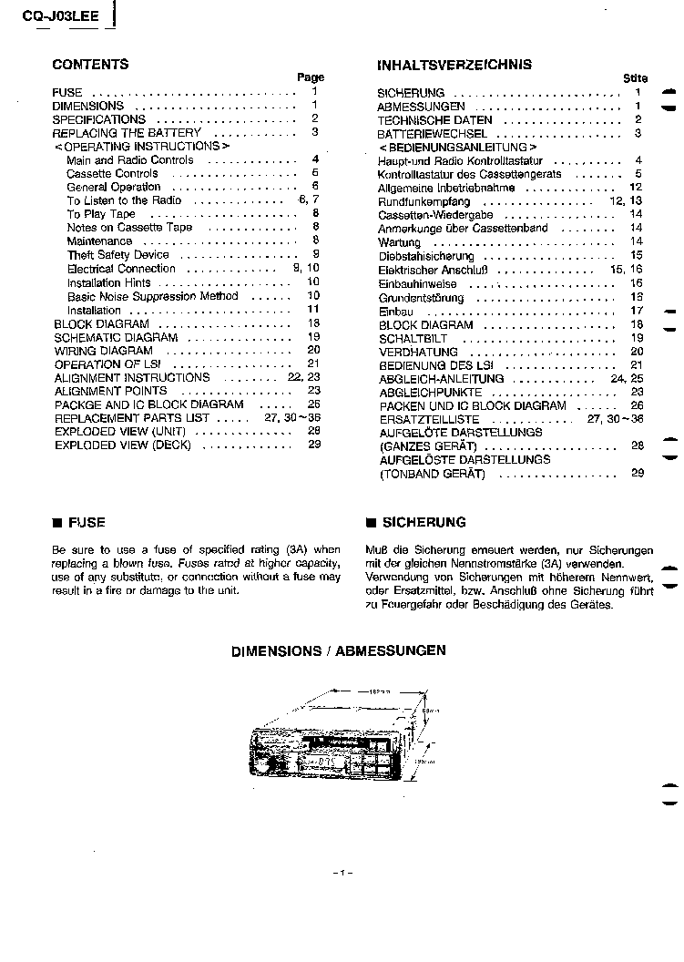 PANASONIC CQ-J03LEE SM Service Manual download, schematics