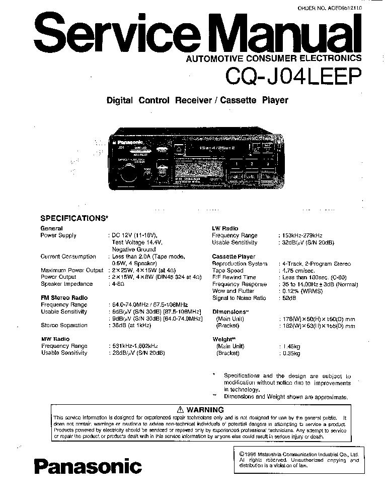 PANASONIC CQ-J04LEEP Service Manual download, schematics