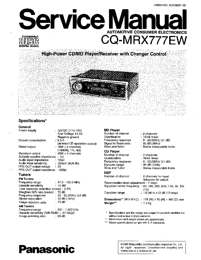 PANASONIC CX-BM4290F MAZDA Service Manual free download