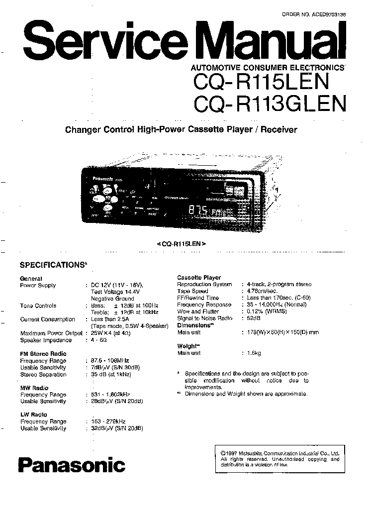 PANASONIC CQ-R113GLEN-R115LEN SM Service Manual download