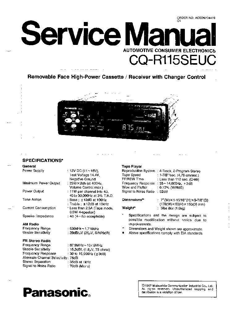 PANASONIC CQ-C8413U-C8313U CAR AUDIO Service Manual