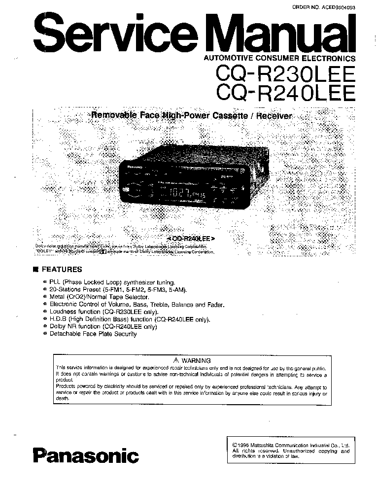 PANASONIC CQ-R230LEE CQ-R240LEE Service Manual download