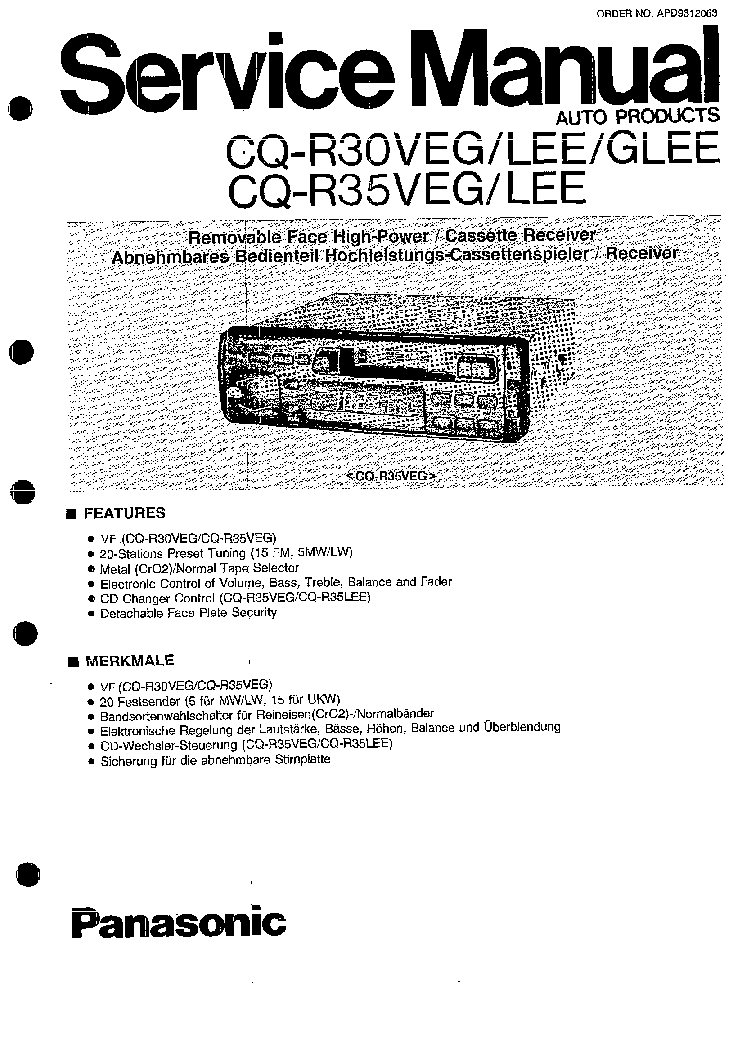 PANASONIC CQ-R30VEG-LEE-GLEE R35VEG-LEE SM Service Manual