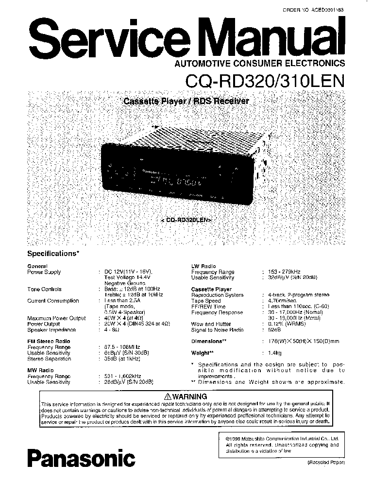 PANASONIC CQ-RD310LEN RD320 SM Service Manual download