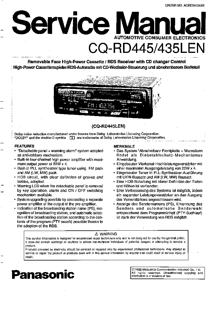 PANASONIC CQ-RD435LEN RD445 SM Service Manual download