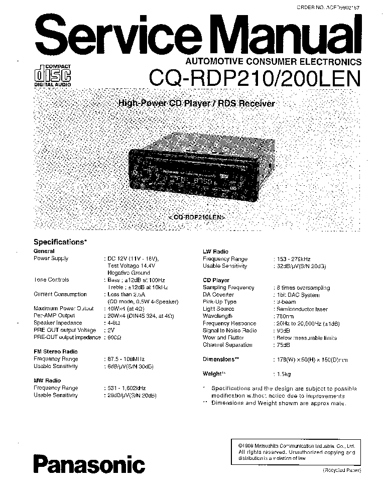 PANASONIC CQ-RDP210 200LEN SM Service Manual download