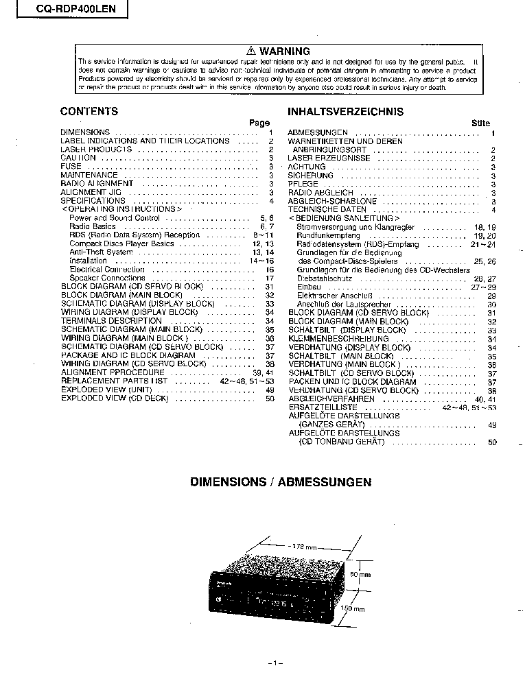 PANASONIC CQ-RDP400LEN Service Manual download, schematics