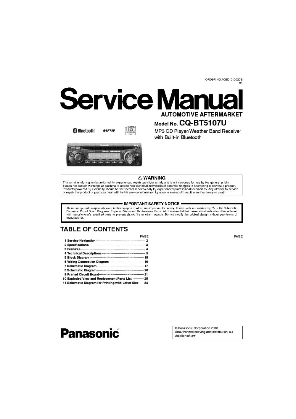 medium resolution of schematics panasonic cq bt5107u sm pdf 1 panasonic cq c1333u car audio service manual download