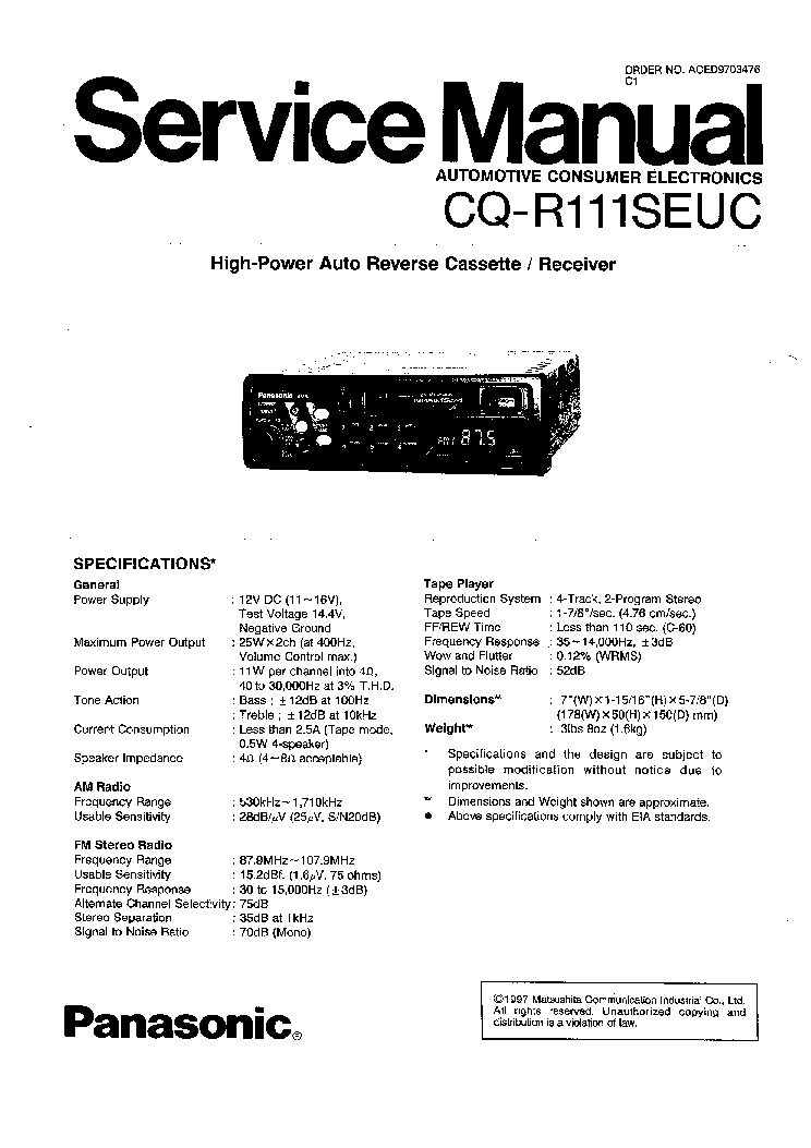 PANASONIC CQ RG153U CAR AUDIO Service Manual download