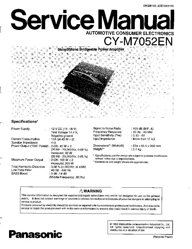 PANASONIC HONDA GOLDWING GL1500 RM-1500A SM Service Manual