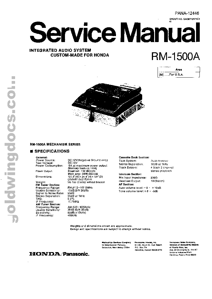 PANASONIC HONDA GOLDWING GL1500 RM-1500A SM Service Manual