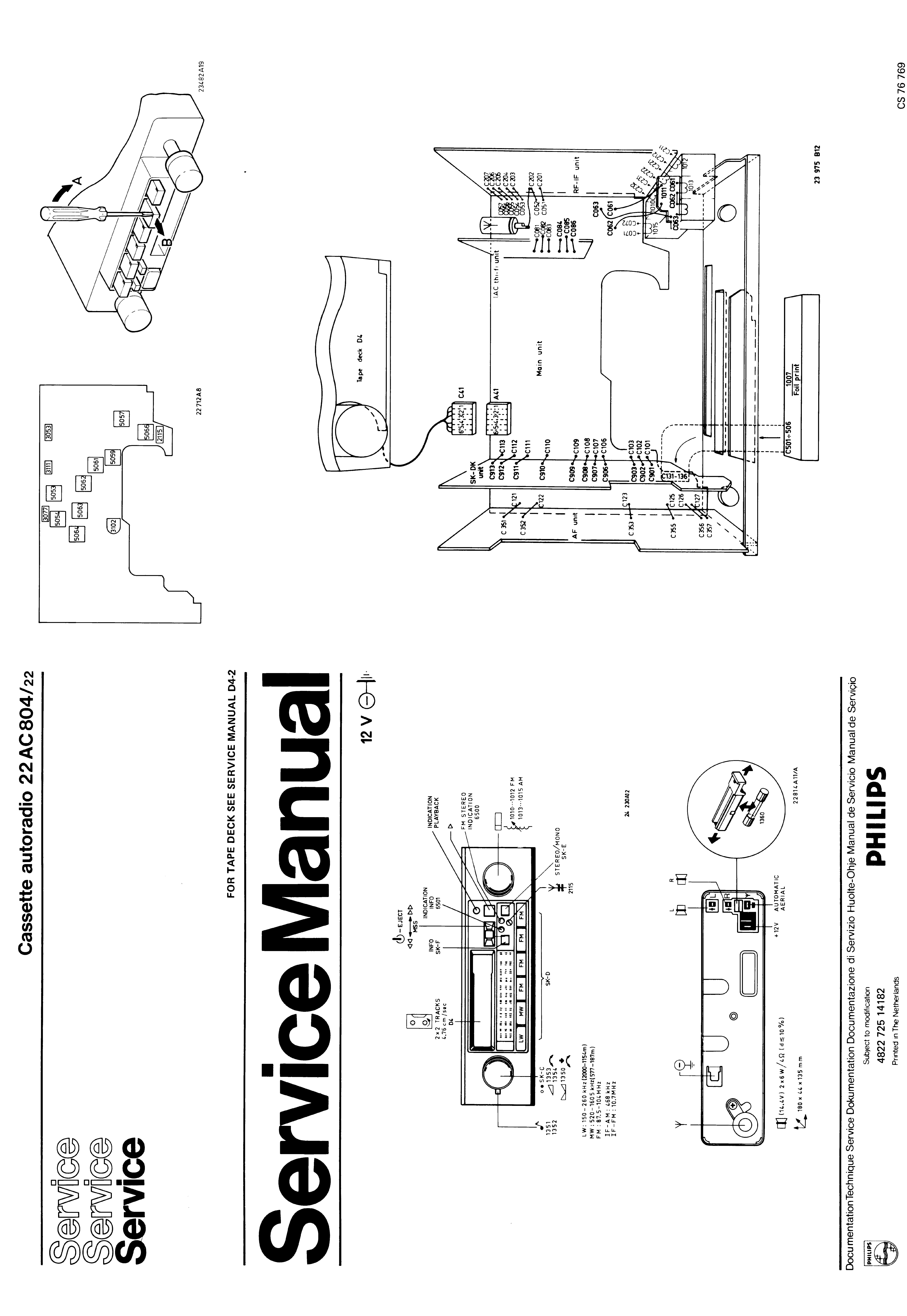 PHILIPS 22AC804 CASSETTE AUTORADIO SM Service Manual