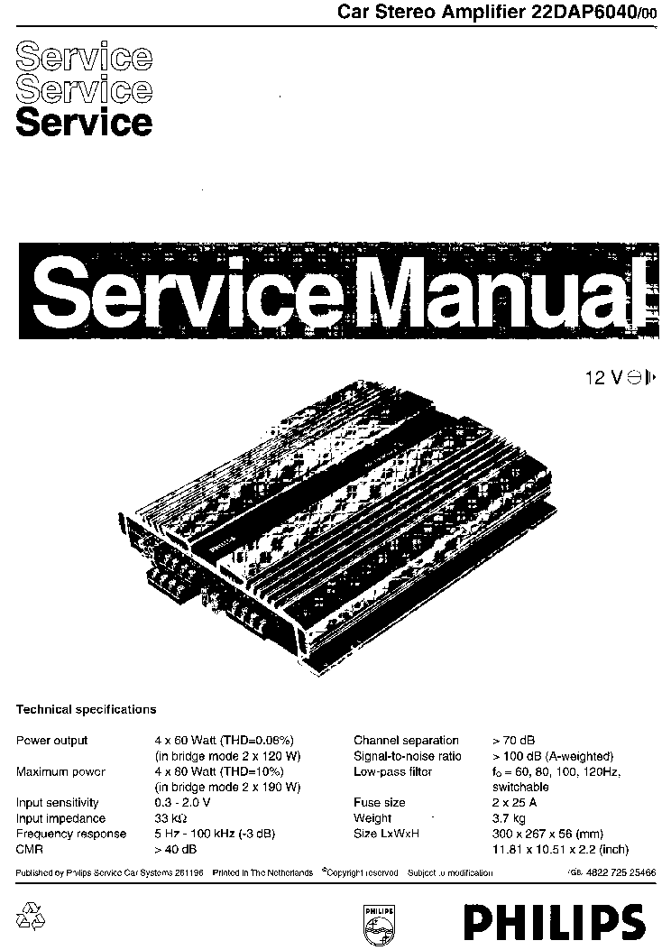 PHILIPS 22DAP6040-00 SM Service Manual download