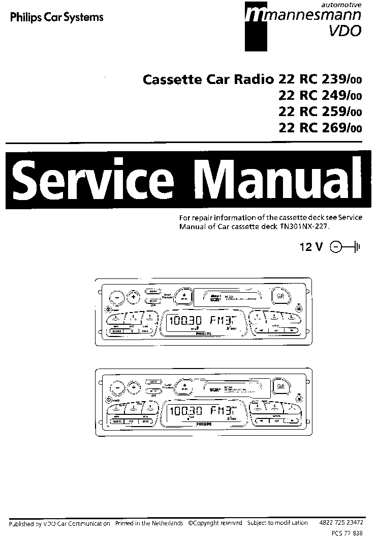 PHILIPS 22RC239 249 259 269 Service Manual download