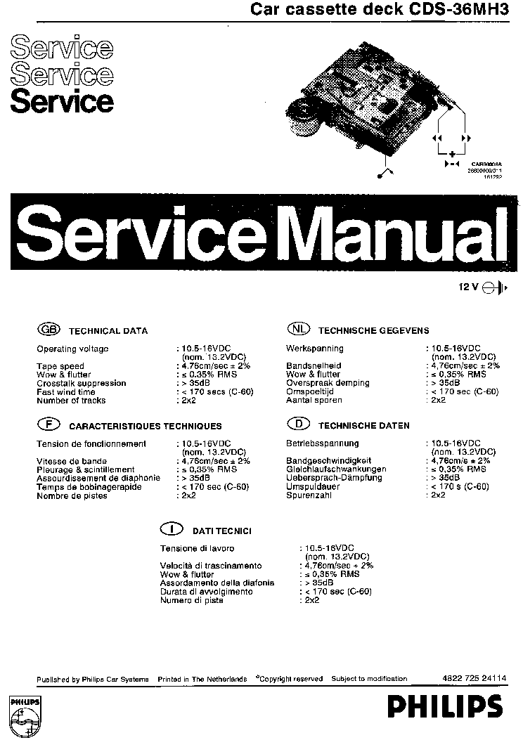 PHILIPS CAR AUDIO CDS-36MH3 Service Manual download