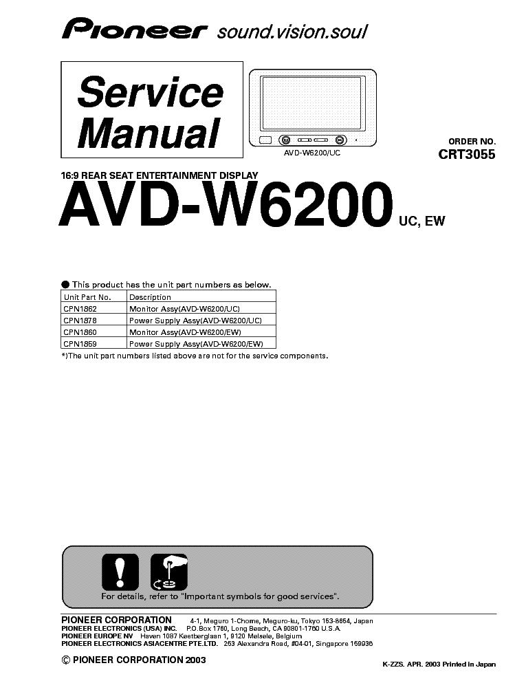 PIONEER DEH-3050UB 4000UB CRT4052 SM Service Manual free