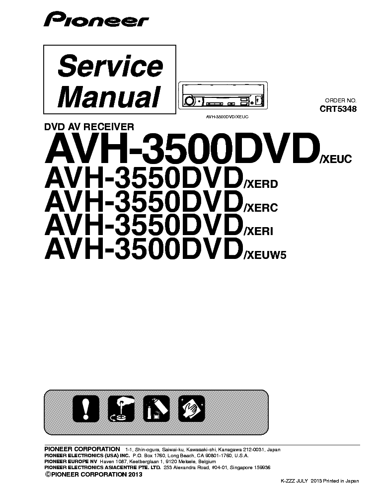 PIONEER AVH-3500DVD AVH-3550DVD Service Manual download