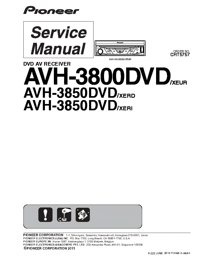 PIONEER AVH-3800DVD AVH-3850DVD Service Manual download