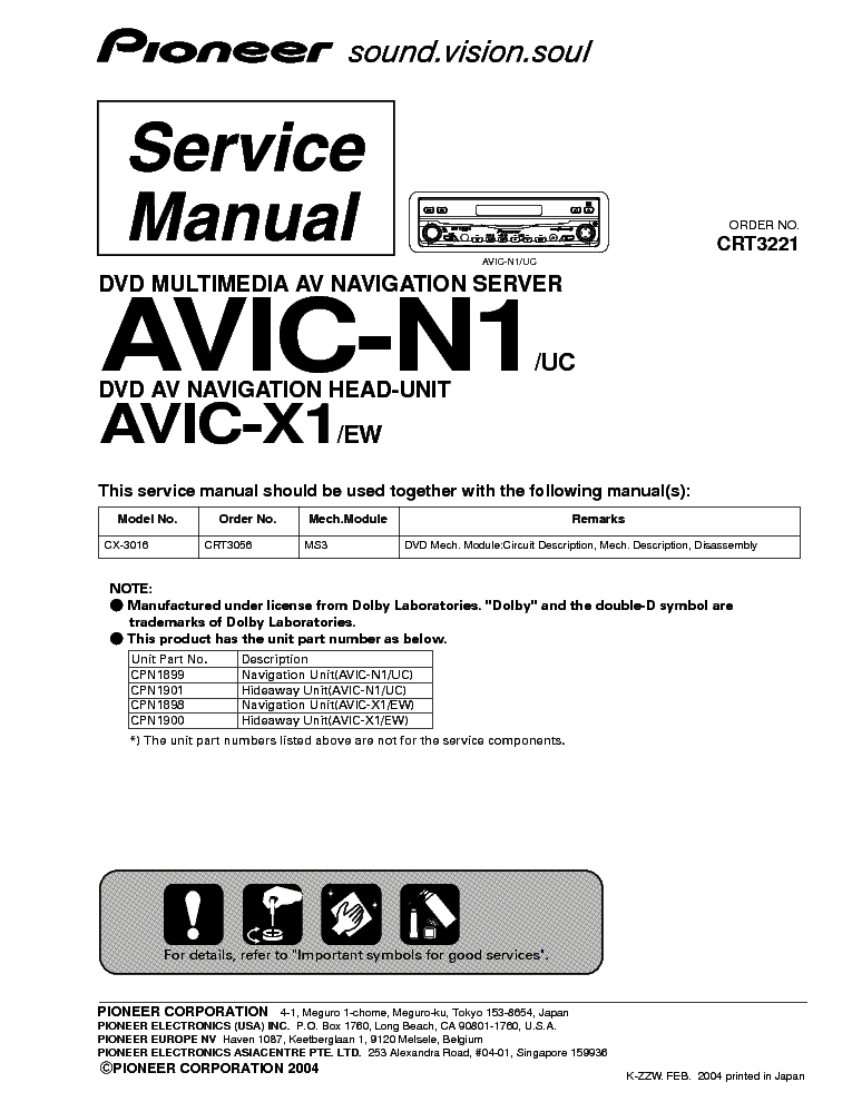 PIONEER AVIC N1 X1 Service Manual Download Schematics Eeprom