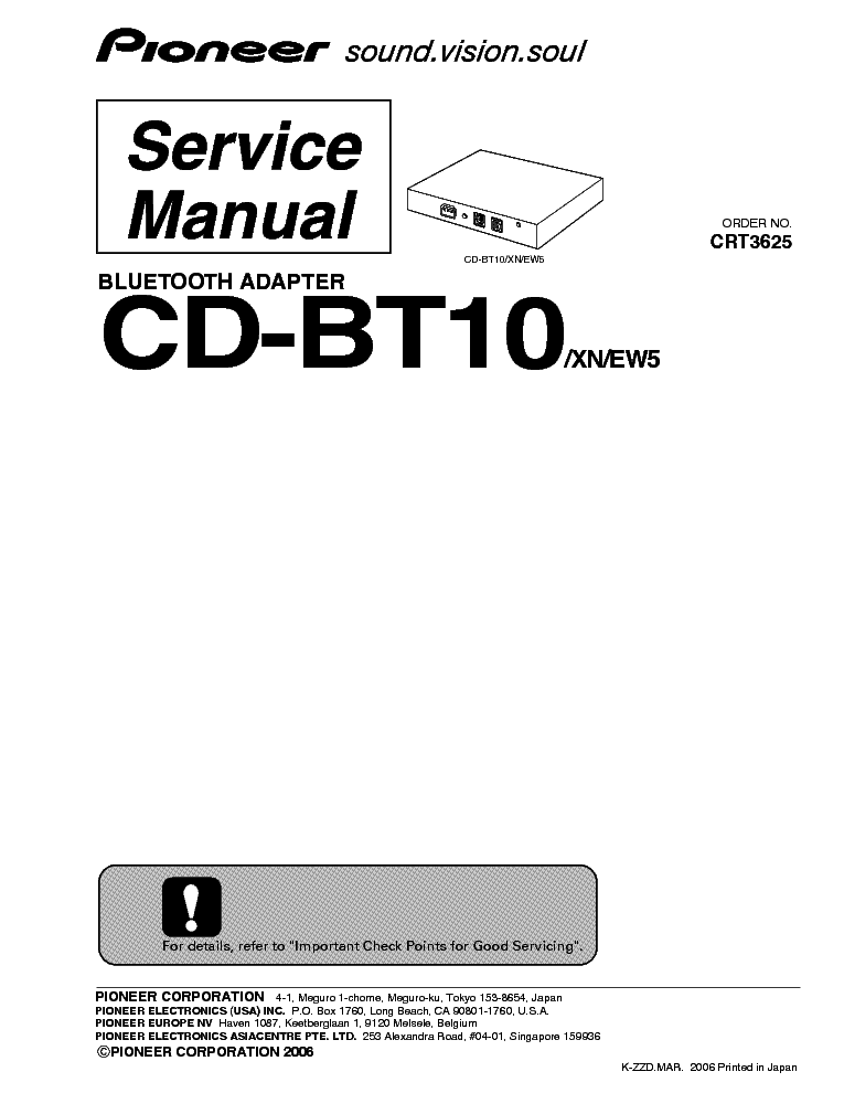 PIONEER CD-BT10 Service Manual download, schematics
