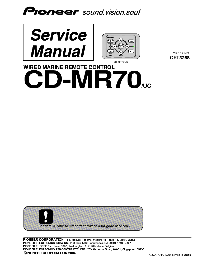 PIONEER CD-MR70 Service Manual download, schematics